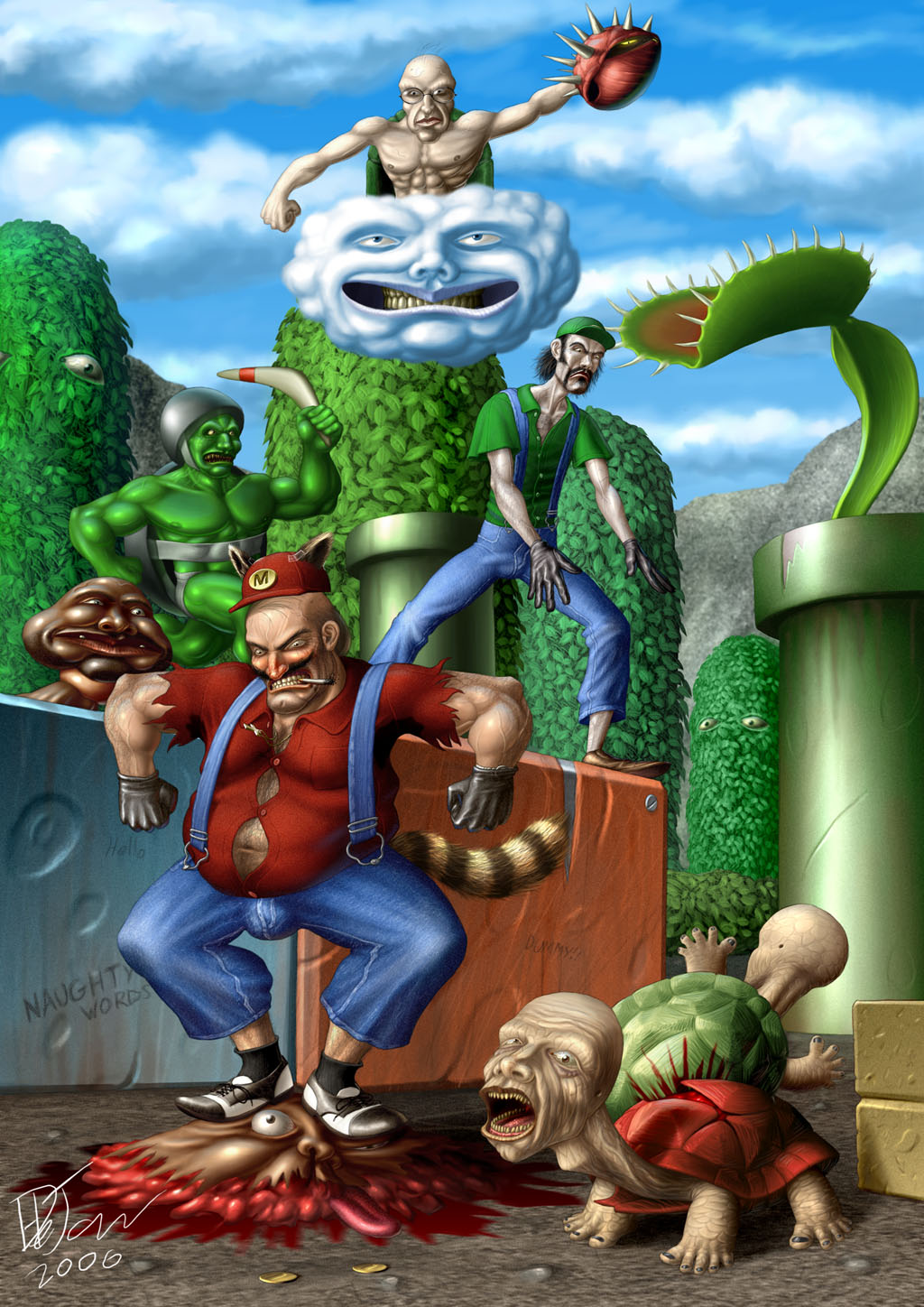 JasonCross.com - Disturbing Realistic Mario Bros Painting